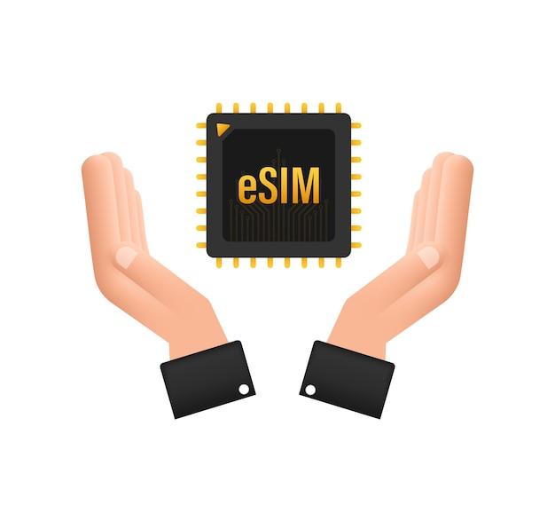Carte sim intégrée esim avec concept de symbole d'icône de mains nouvelle puce