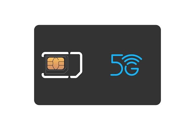 Carte sim noire pour téléphone portable avec modèle de conception de puce emv standard, micro et nano. maquette de symbole en plastique 5g gsm sur fond blanc vector illustration isolée