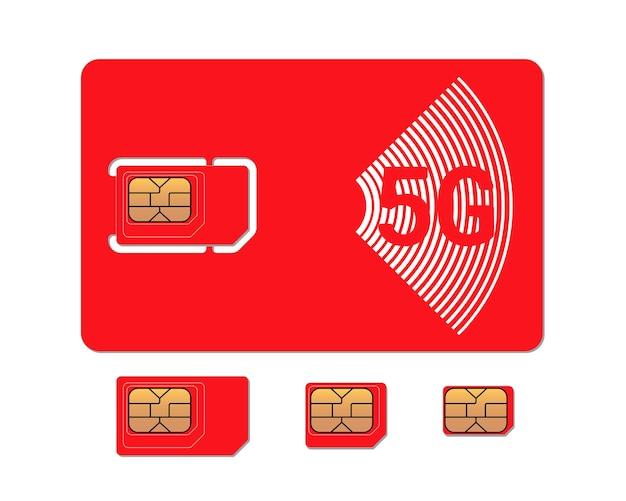 Carte sim rouge de téléphone portable avec modèle de conception de puce micro et nano emv standard g symbole en plastique gsm