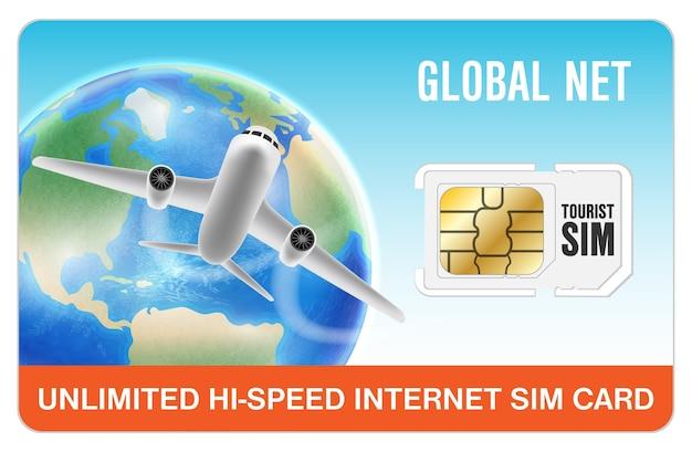 Carte de sim de smartphone de voyage mondial internet