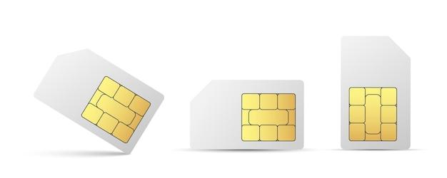 Carte sim téléphone mobile icône puce téléphone portable jeu de cartes sim
