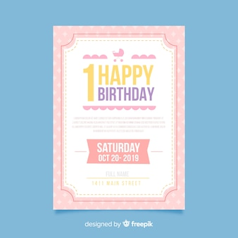 Carte simple premier anniversaire
