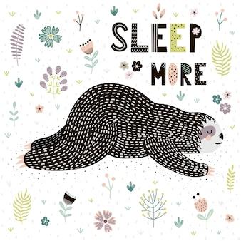 Carte sleep more avec une jolie paresse endormie