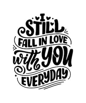 Carte avec slogan sur l'amour. texte de calligraphie pour la saint-valentin.