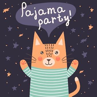 Carte de soirée pyjama avec un chat mignon