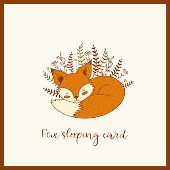 Carte de sommeil renard mignon doodle dessiné à la main