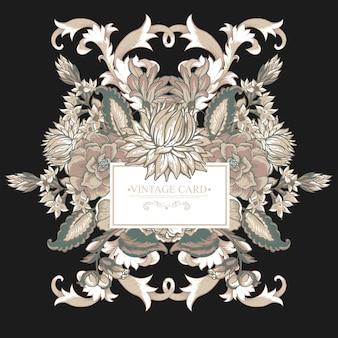 Carte de souhaits baroque vintage avec des remous, des fleurs