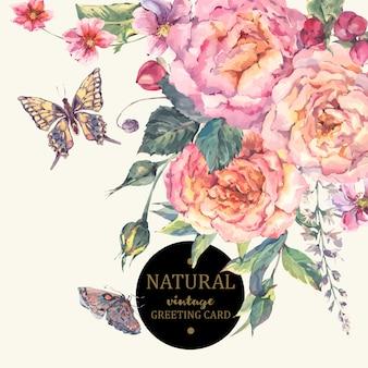 Carte de souhaits classique roses vintage