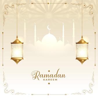 Carte de souhaits décoratifs islamiques ramadan kareem