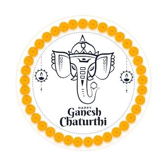 Carte de souhaits du festival indien lord ganesh chaturthi