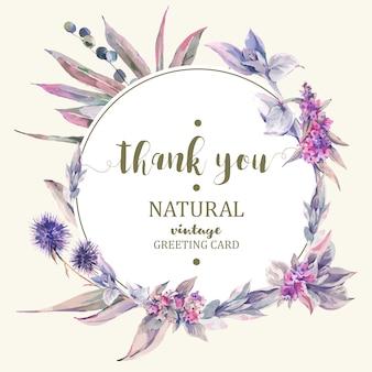 Carte de souhaits floral vintage, bouquet de chardons