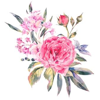 Carte de souhaits florale vintage classique, bouquet naturel de roses