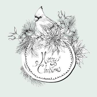 Carte de souhaits florale vintage monochrome de noël