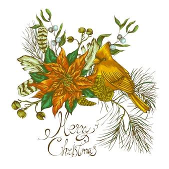 Carte de souhaits florale vintage de noël