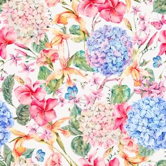 Carte de souhaits florale vintage de vecteur avec hortensias, orchidées