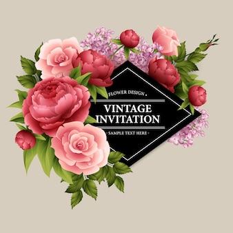 Carte de souhaits vintage avec fleurs épanouies.