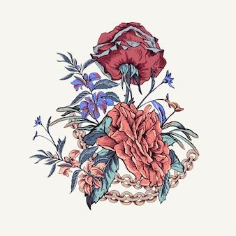 Carte de souhaits vintage avec des roses, des chaînes et des fleurs sauvages