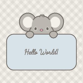 Carte de souris de bébé mignon et vecteur premium de modèle sans couture à carreaux gris
