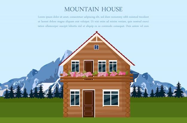 Carte de style swiss maison de montagne