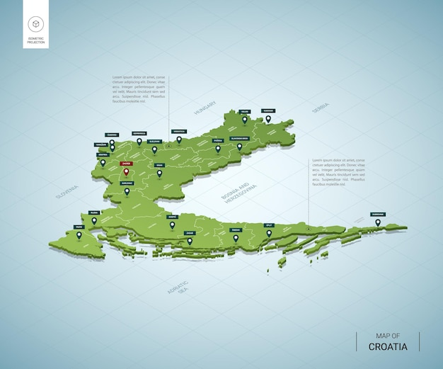 Carte stylisée de la croatie carte verte 3d isométrique avec villes, frontières, capitale zagreb, régions
