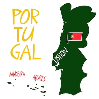 Carte stylisée du portugal dessinée à la main.