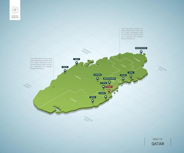 Carte stylisée du qatar carte verte 3d isométrique avec les villes