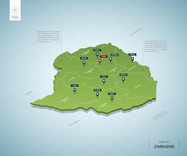 Carte stylisée du zimbabwe.