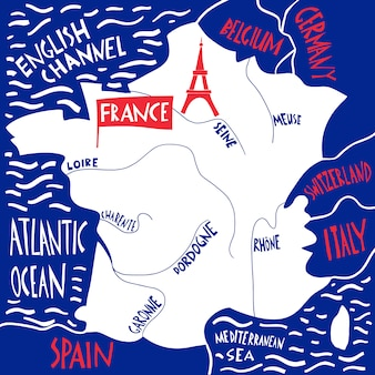 Carte stylisée de la france dessinée à la main. illustration de voyage avec des noms de rivières.