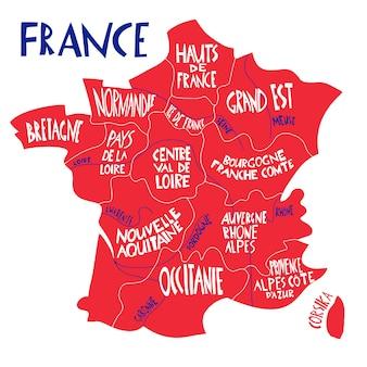 Carte stylisée de la france dessinée à la main. illustration de voyage avec les régions françaises, les noms des villes.
