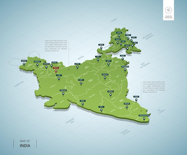 Carte stylisée de l'inde.