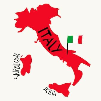 Carte stylisée de l'italie dessinée à la main.