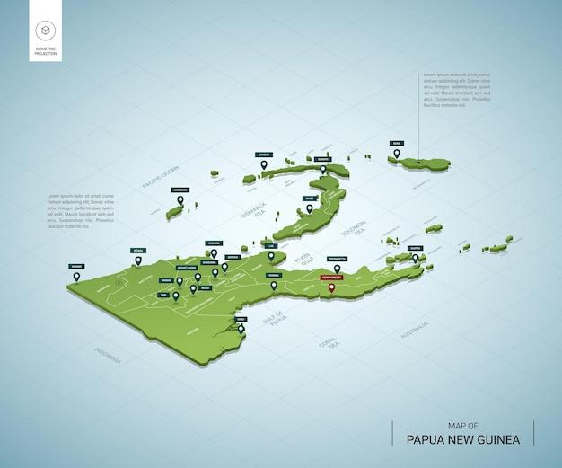 Carte stylisée de la papouasie-nouvelle-guinée. carte verte 3d isométrique avec villes, frontières, capitale, régions.