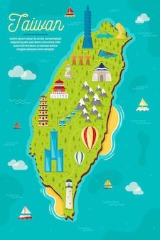 Carte de taïwan avec points de repère
