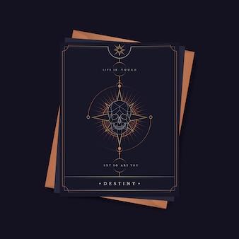 Carte de tarot astrologique crâne géométrique