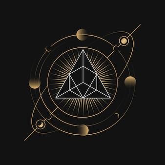 Carte de tarot astrologique de pyramide géométrique