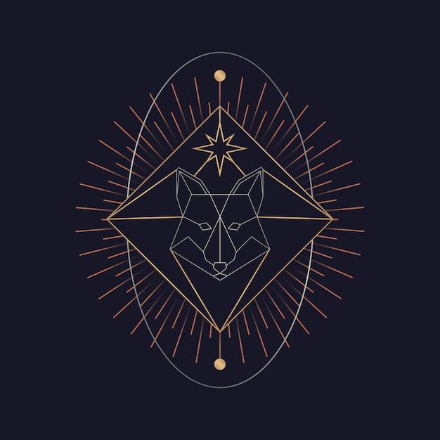 Carte de tarot astrologique de renard géométrique