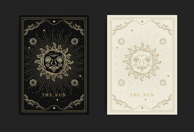 La carte de tarot du soleil avec gravure, dessinée à la main, luxe, ésotérique, style boho, adaptée au paranormal, lecteur de tarot, astrologue ou tatouage