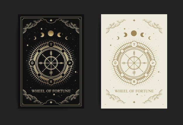 Carte de tarot de la roue de la fortune avec gravure, dessinée à la main, luxe, ésotérique, style boho, adaptée au paranormal, lecteur de tarot, astrologue ou tatouage