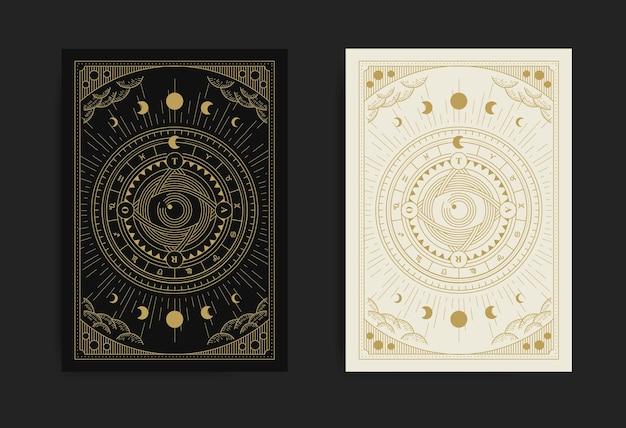 Carte de tarot roue de fortune avec oeil de la providence