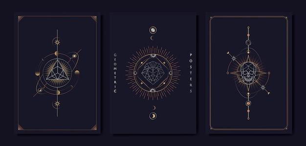 Carte de tarot de symboles astrologiques géométriques