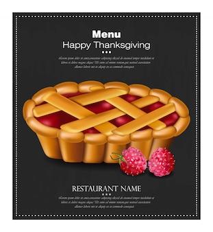 Carte de tarte de joyeux thanksgiving