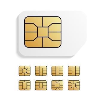 Carte Téléphonique Mondiale Réaliste Avec Différentes Puces Emv Vecteur Premium