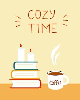 Carte temps cosy. livres et café.