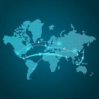 Carte de la terre en pointillé