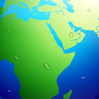 Carte de terre vectorielle avec effet réchauffement climatique