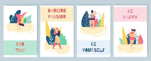 Carte de texte de dessin animé promotion femme motivation plat