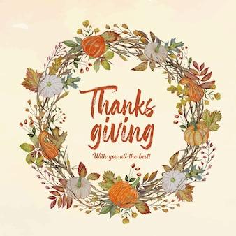 Carte de thanksgiving avec couronne de citrouilles