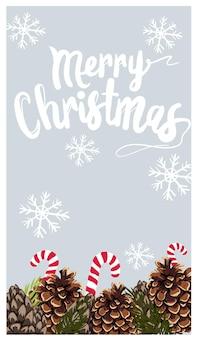 Carte sur le thème de noël avec des flocons de neige, des pommes de pin, des brindilles et des cannes de bonbon