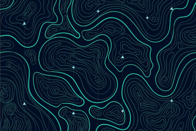 Carte topographique avec lignes colorées