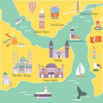 Carte touristique avec les destinations et monuments célèbres d'istanbul